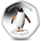 South Georgia and South Sandwich Islands Penguin 50p Series: Gentoo - 2020 Coloured Cupro Nickel Diamond Finish