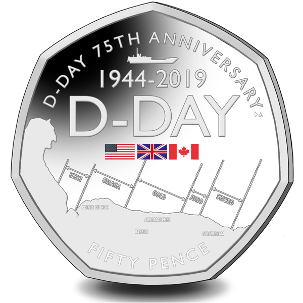75TH ANNIVERSARY OF D-DAY COMMEMORATED ON STUNNING NEW 50P