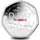 75th Anniversary of D-Day - 2019 Unc. Coloured Cupro Nickel Diamond Finish 50p Coin in Pack