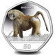 Gibraltar Primates 50p Series: Baboon - 2018 Coloured Cupro Nickel Diamond Finish