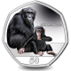 Gibraltar Primates 50p Series: Chimpanzee - 2018 Coloured Cupro Nickel Diamond Finish