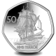 180th Anniversary of the Arrival of HMS Terror in Antarctica - 2021 Cupro Nickel Diamond Finish 50p Coin - BAT