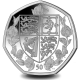 The Queens 95th Birthday: Coat of Arms - 2021 Unc. Cupro Nickel Diamond Finish 50p Coin - BIOT