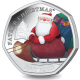 BIOT Father Christmas 50p - 2020 Proof Sterling Silver Piedfort Coloured Coin