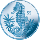 British Virgin Islands 2014 - Seahorse - Turquoise Titanium $5 Coin