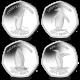 SGA Penguins 50p Series: Complete Set with Album - 2020 Coloured Cupro Nickel