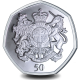 The Queens 95th Birthday: Royal Coat of Arms - 2021 Unc. Cupro Nickel Diamond Finish 50p Coin - SGA