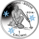Isle of Man 2014 - Winter Olympic Series: Curling - Coloured Proof Sterling Silver Coin