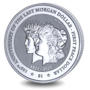 Centenary of the Transition of the Morgan Dollar to the Peace Dollar - 2021 Reverse Frosted Silver Bullion coin - BVI