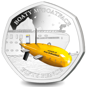 Boaty McBoatFace - 2019 Uncirculated Coloured Cupro Nickel Diamond Finish 50p Coin in Pack