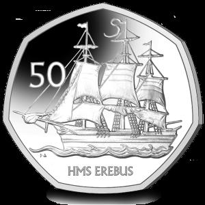 HMS Erebus - Bicentenary of the Discovery of Antarctica -2020 Uncirculated Cupro Nickel Diamond Finish 50p