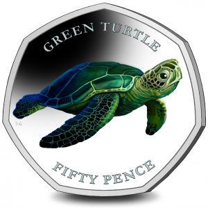 British Indian Ocean Territory Turtles 50p Series: Green Turtle 2019 Coloured Cupro Nickel Diamond Finish
