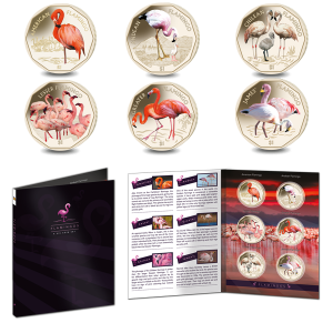 Complete Flamingos Series with Album: 2019 Coloured Virenium Coin
