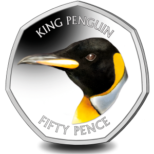 Falklands Penguins II 50p Series: King - 2018 Coloured Cupro Nickel Diamond Finish