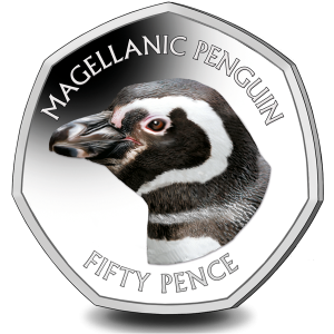 Falklands Penguins II 50p Series: Magellanic - 2018 Coloured Cupro Nickel Diamond Finish