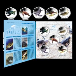 British Indian Ocean Territory 2019 Turtles 50p Series: Complete Set with Album