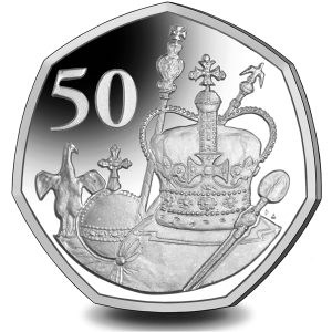 The Queens 95th Birthday: Crown Jewels - 2021 Unc. Cupro Nickel Diamond Finish 50p Coin - BAT