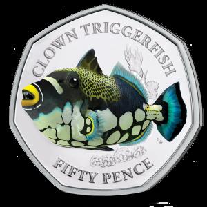 Sea Creatures: Clown Triggerfish - 2021 Unc. Coloured Cupro Nickel Diamond Finish 50p Coin - BIOT