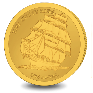 Cutty Sark - 2021 Reverse Frosted Proof Fine Half Gram Gold 1/64 Royal Coin - BIOT