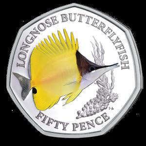 Sea Creatures: Longnose Butterflyfish - 2021 Unc. Cupro Nickel Diamond Finish 50p Coin - BIOT