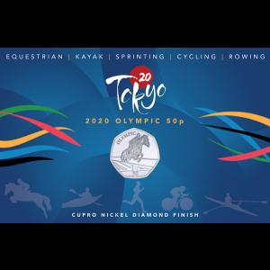 Summer Olympic Games: Olympic Equestrian - 2021 Unc. Cupro Nickel Diamond Finish 50p Coin - GIB