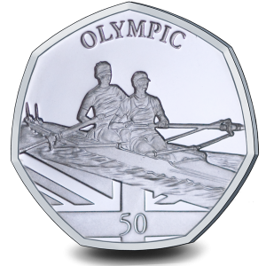 Summer Olympic Games: Olympic Rowing - 2021 Proof Sterling Silver 50p Coin - GIB