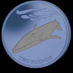 Fin Whale - 2021 Bi-Colour Dark Blue and Grey Titanium Coin - SGA