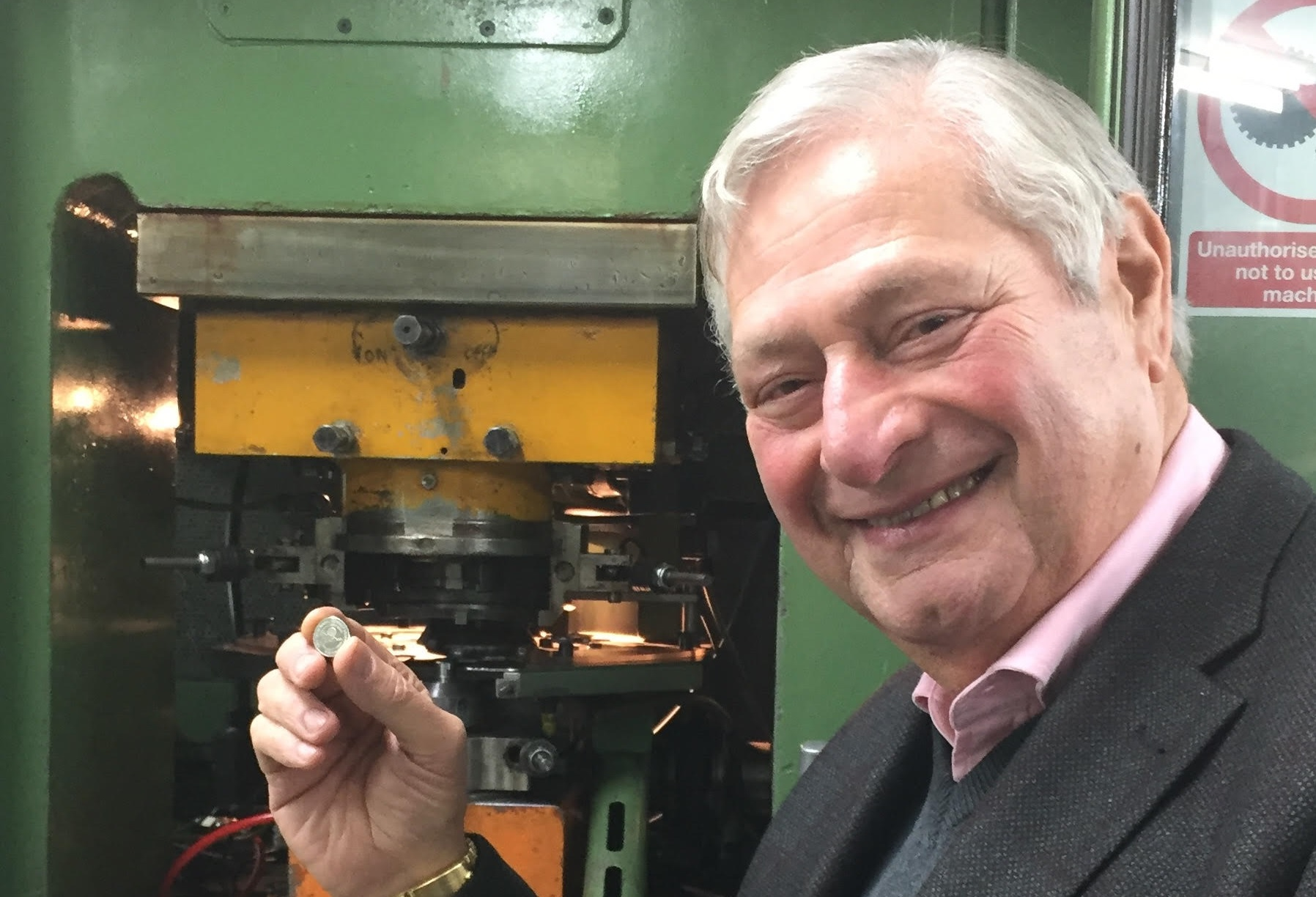 MR ALBERT POGGIO OBE GMH WITNESSES PRODUCTION OF CALPE HOUSE CURRENCY